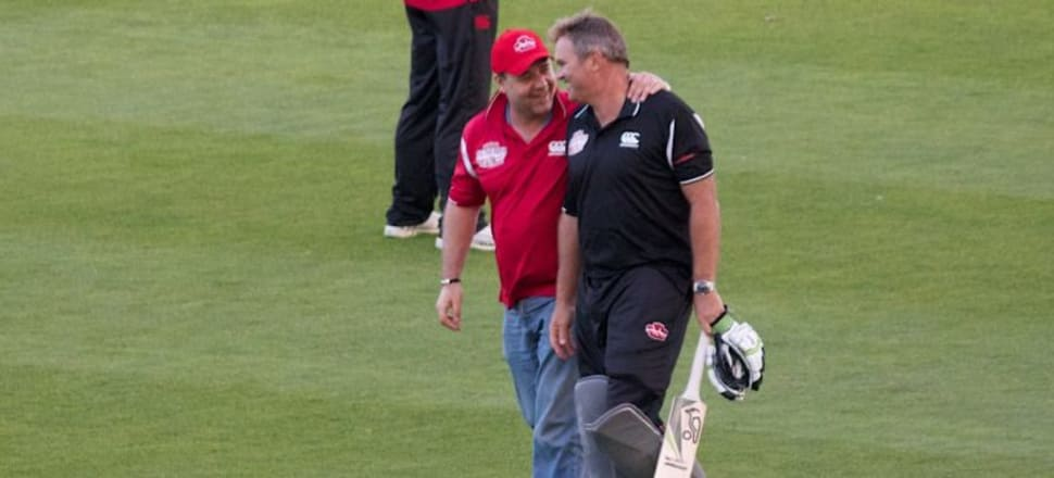 Martin Crowe, with cousin Russell, at the Fill The Basin charity match in 2011. Photo: Kristina DC Hoeppner