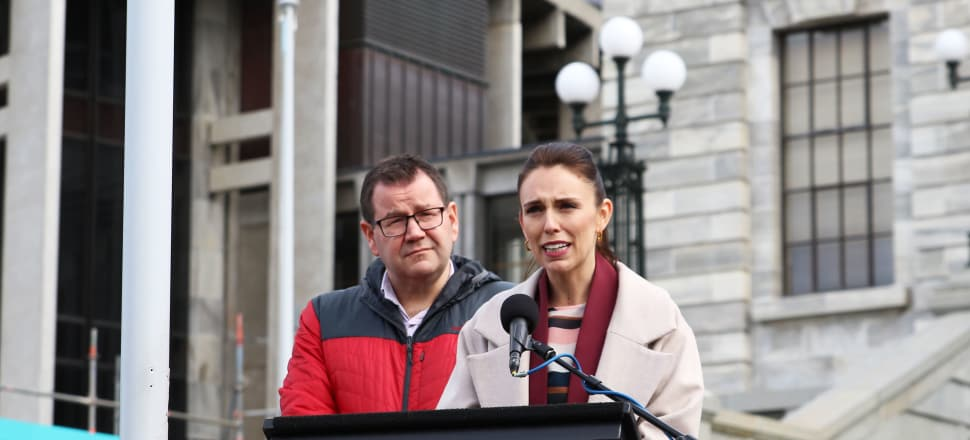 Jacinda Ardern was moved to tears as she began speaking to family members and supporters of those commemorating World Suicide Prevention day on the steps of Parliament. She said her best friend's brother took his own life at the age of 15. Photo by Lynn Grieveson.