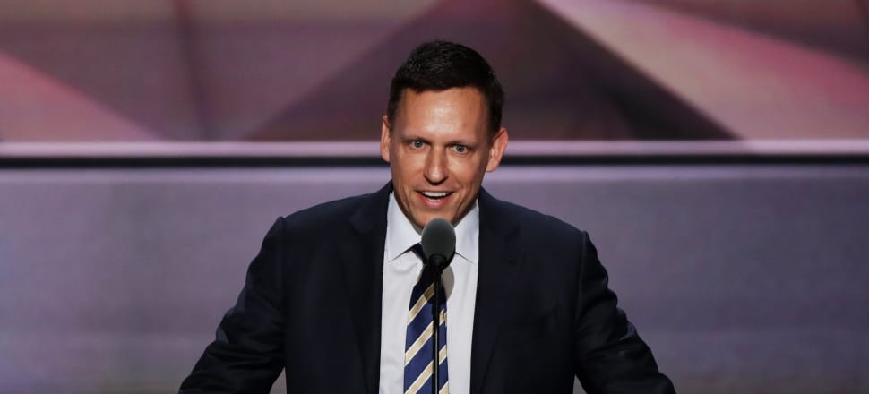 Tech billionaire and New Zealand citizen Peter Thiel addressing the 2016 Republican Party Presidential Convention in support of then-candidate Donald Trump. Simon Denny's exhibition 'The Founders Paradox' was on display in the Michael Lett gallery in Auckland in November and December. Photo by Getty Images.