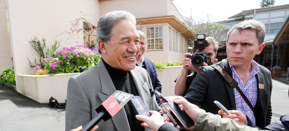 New Zealand First leader Winston Peters speaks to media after casting his vote in the 2014 general election. Photo: Getty Images