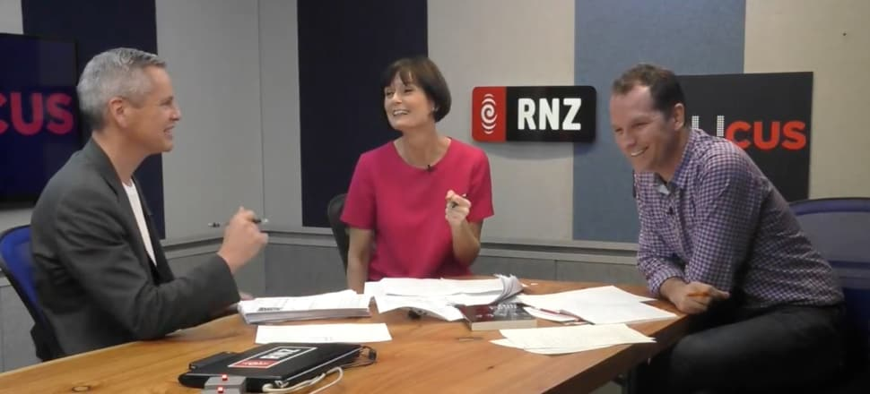 RNZ's Morning Report co-host, Guyon Espiner, left, The Nation's Lisa Owen and RNZ's Executive Producer of podcasts, Tim Watkin, present their weekly political discussion podcast Caucus on Thursdays. Photo: YouTube