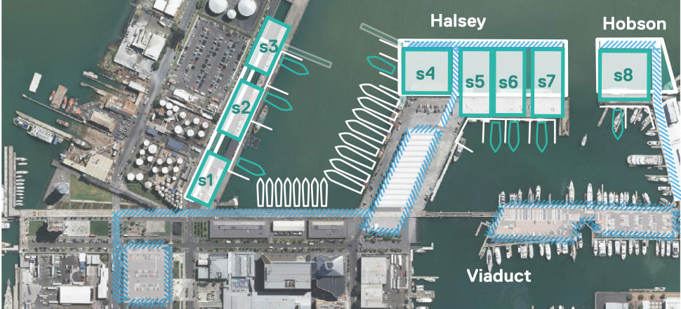 America's Cup bases will be split around three locations on Auckland's waterfront. Image: Auckland Council
