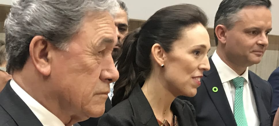 Winston Peters, Jacinda Ardern and James Shaw front the media at the launch of the Government's 30-year plan. Photo: Tim Murphy