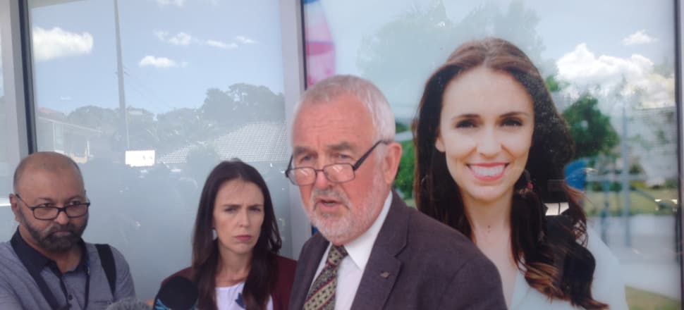 Prime Minister Jacinda Ardern and Labour Party President Nigel Haworth addressing media in Auckland in March after the revelations came to light. Photo: Mark Jennings