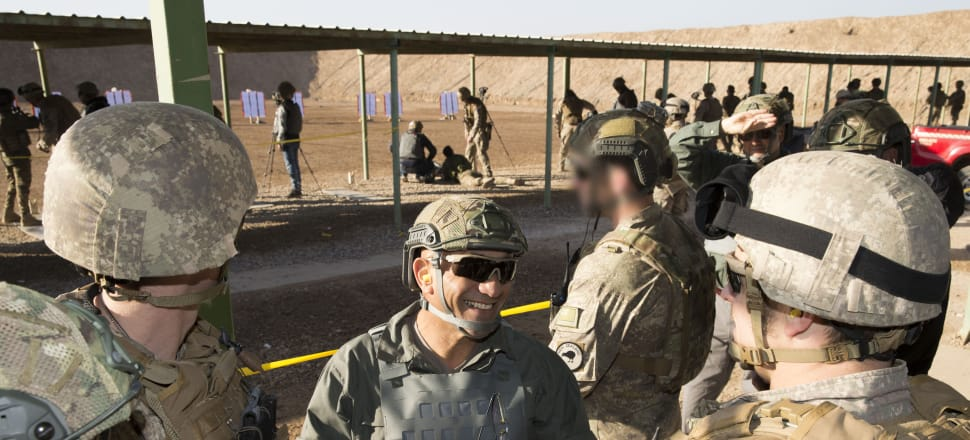 Defence Minister Ron Mark at the range in Camp Taji. Photo: Supplied.