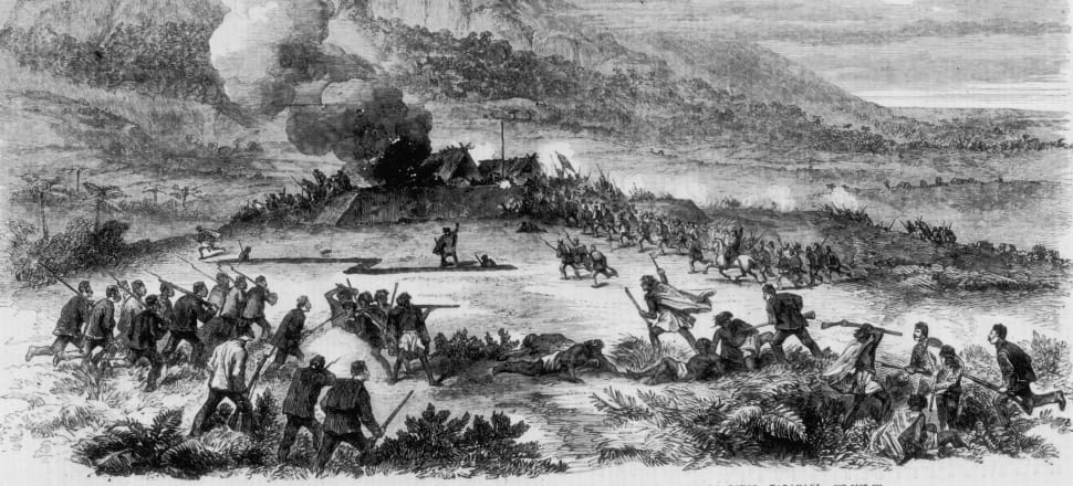 British soldiers of the 57th Regiment taking a Maori redoubt on the Katikara River in Taranaki during the Land Wars. Archive photo: Getty Images