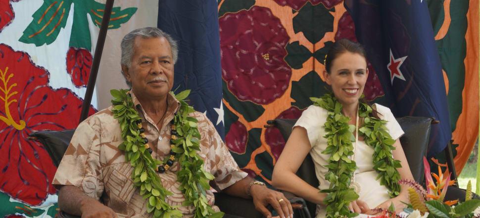 Cook Islands Prime Minister Henry Puna and Jacinda Ardern meet in Rarotonga. Photo: Sam Sachdeva.