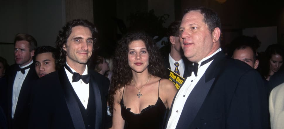 Harvey Weinstein, right, at the Golden Globe Awards after party in 1998. Photo: Getty Images