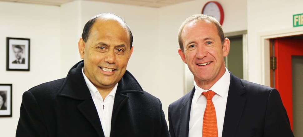 Labour candidate Willie Jackson and leader Andrew Little were keen to put disagreements over the list rankings behind them at the announcement this morning. Photo: Lynn Grieveson.