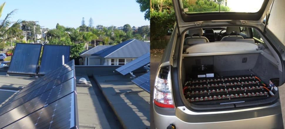 Powering up: Photovoltaics for home and car at the Oram household. Photo: Supplied
