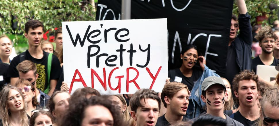 Wellington students stand up for workplaces free from sexual violence. Photo: Lynn Grieveson