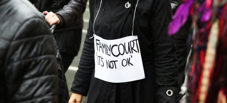 Marching on parliament in a call for an inquiry into the family court. Photo by Lynn Grieveson
