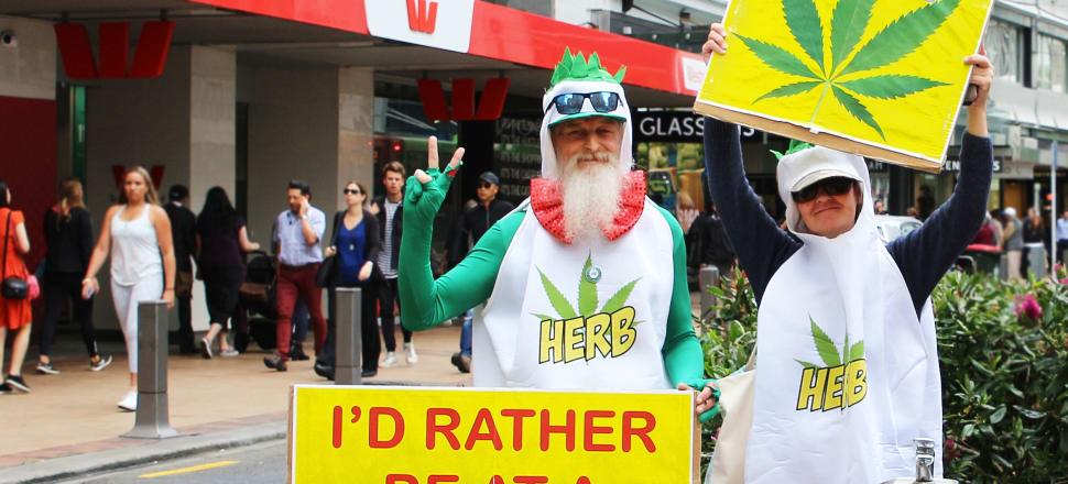Decriminalise cannabis protesters stand on Wellington's Lambton Quay. Photo: Lynne Grieveson