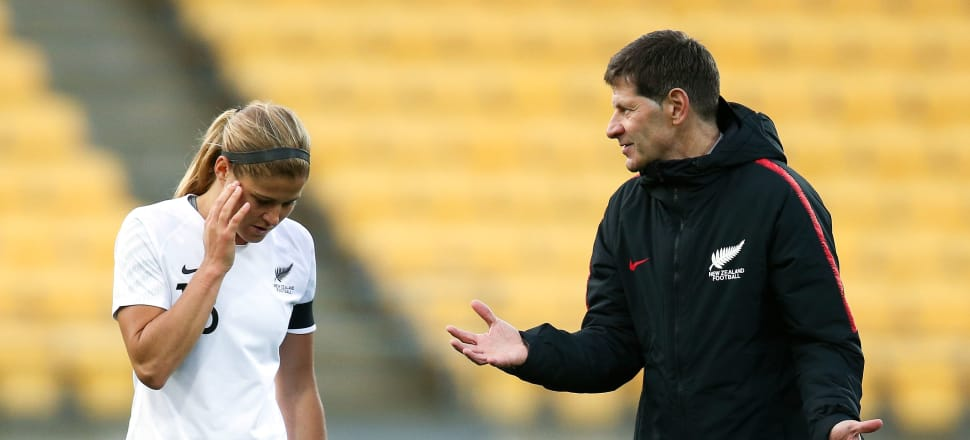 Coach Andreas Heraf passes instructions to Rosie White during the 1-3 loss to Japan at Westpac Stadium. Photo: Getty Images