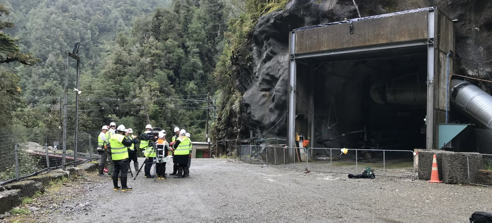 A media scrum gathers outside the Pike River mine's portal. Photo: Pike River Recovery Agency