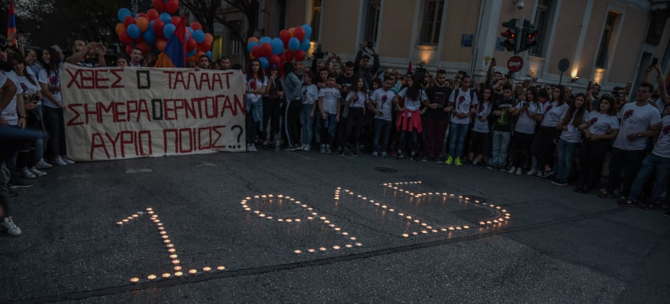 The public gather for an Armenian Genocide Commemoration in Athens. Photo: Getty Images