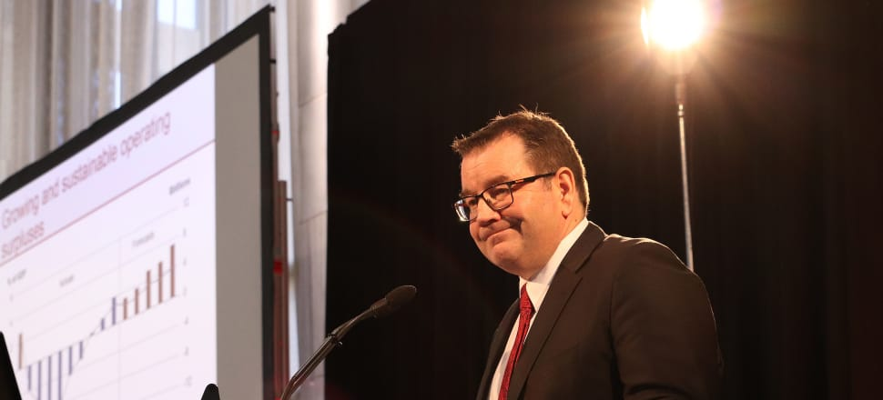 Finance Minister Grant Robertson delivers his first full Budget in a lock-up for journalists and analysts in the Beehive's Grand Hall. Photo: Lynn Grieveson