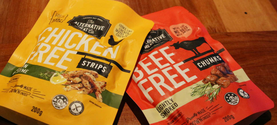 """It tastes like chicken: plant protein """"chicken"""" and """"beef"""" sold in New Zealand under the Alternative Meat Company label. Photo by Lynn Grieveson"""