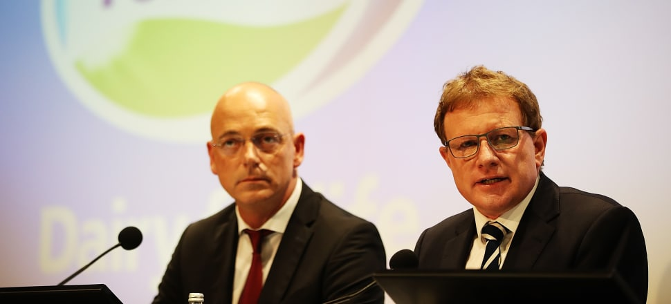 Fonterra CEO Theo Spierings and Chairman John Wilson at a media conference in Auckland in December announcing a 105m euro damages payment to Danone. Photo: Getty Images