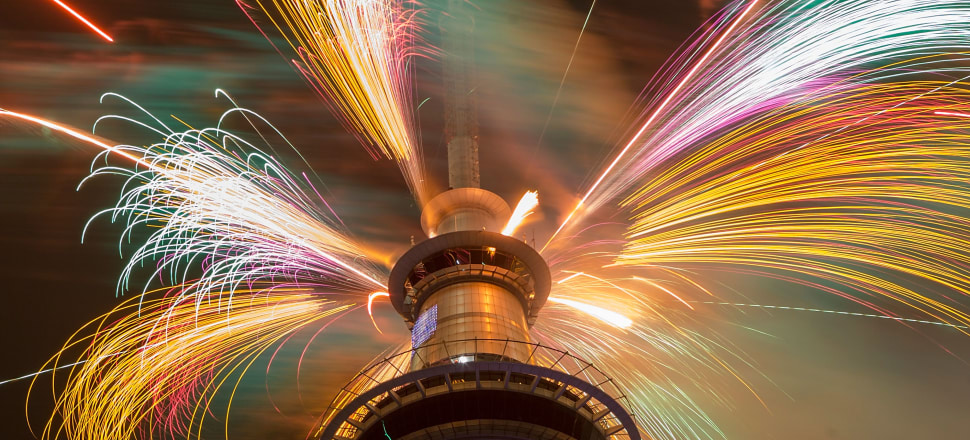 Fireworks go off from Auckland's Sky Tower at midnight on New Year's Day of 2015. By then, a fresh boom was well underway after the 2014 election result. Photo: Getty Images.