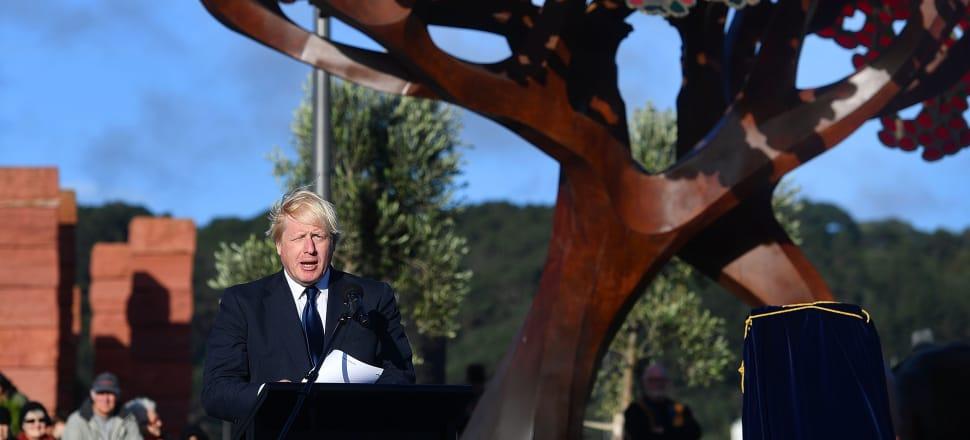 UK Foreign Secretary Boris Johnson addresses a crowd at the Pukeahu war memorial park in Wellington. Photo: Marty Melville.