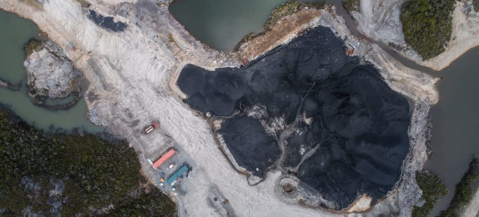 The open-cast Escarpment coal mine, on conservation land on the Denniston Plateau. Photo: Neil Silverwood