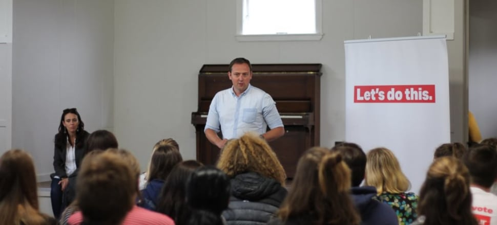 Labour's former general secretary Andrew Kirton speaks to supporters at the party's February summer camp where the alleged sexual assault occurred. Photo: Facebook/Young Labour