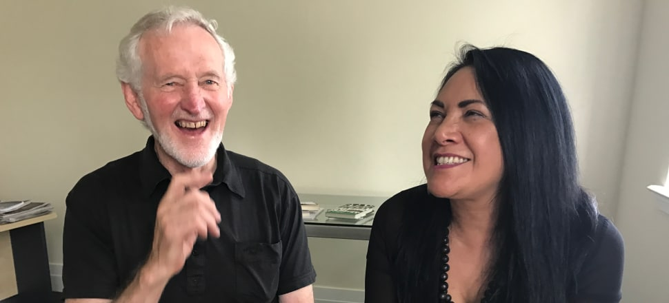 Gary Wilson and Tapu Misa in their 'little brown boutique' above the Onehunga Mall shops. Picture: Tim Murphy