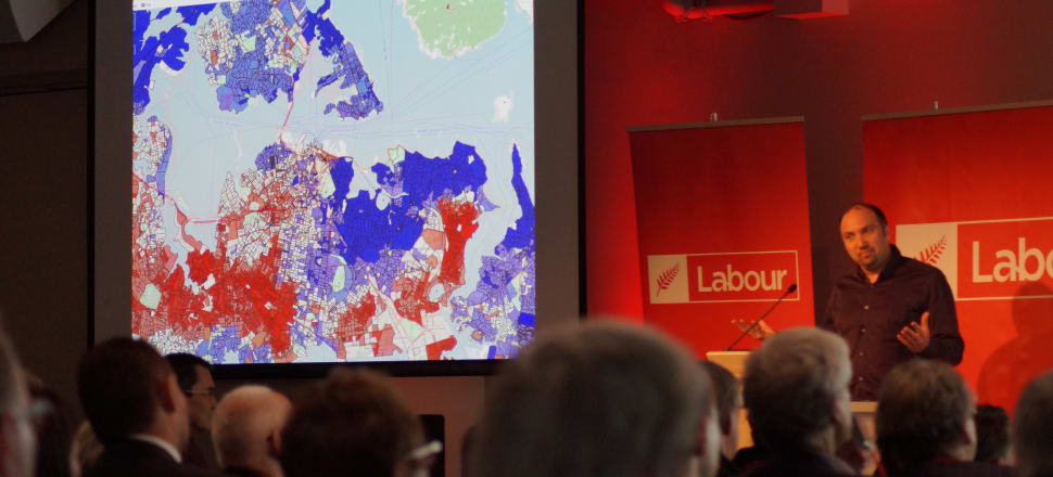 Rob Salmond, a political data analyst for Labour, demonstrates the level of data the party has gathered about potential voters. Photo: Sam Sachdeva.