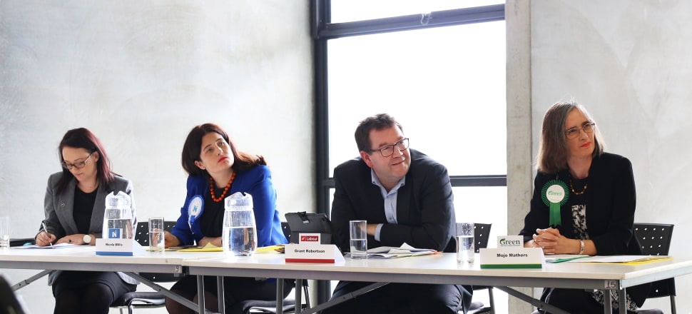 National candidate Nicola Willis (second from left) found herself the odd one out at a panel discussion on disability issues and benefit reform alongside NZ First candidate Talani Meikle, Grant Robertson (Labour) and Mojo Mathers (Greens). Photo by Lynn Grieveson