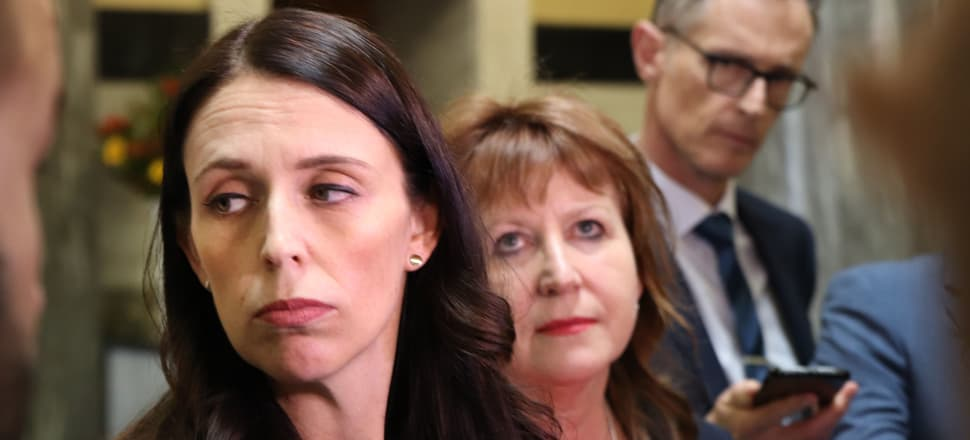 Looking for the plus side, Jacinda Ardern and Clare Curran face the media. Photo: Lynn Grieveson.