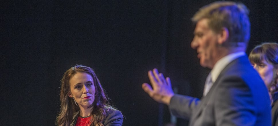 Jacinda Ardern and Bill English clash at the Stuff debate in Christchurch. Photo: Supplied by Stuff.co.nz