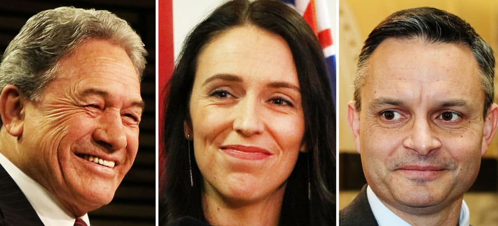 Coalition partners Winston Peters and Jacinda Ardern, alongside the Greens' James Shaw. Photos: Lynn Grieveson