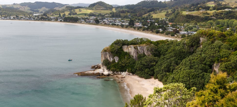 Cooks Beach in Whitianga. The Longreach subdivision is at the far end of the beach, on the Purangi Estuary. Photo: Florian Bugiel
