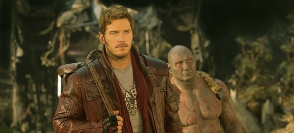 Star-Lord (Chris Pratt) and Drax (Dave Bautista) continue their journey as two of Marvel's unconventional heroes in Guardians of the Galaxy Vol 2. Photo: Walt Disney Studios