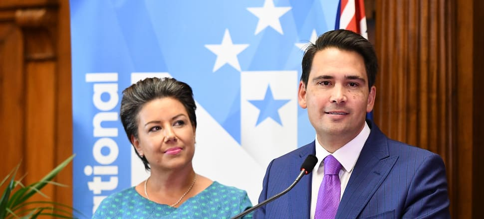 New National Leader Simon Bridges speaking at a news conference in Parliament's Legislative Chamber with re-elected Deputy Leader Paula Bennett. Photo by Elias Rodriguez/Getty Images.