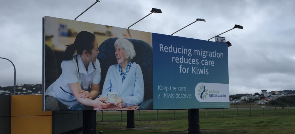 A billboard outside Wellington Airport in the lead-up to the election, paid for by the Aged Care Association. Photo: Supplied
