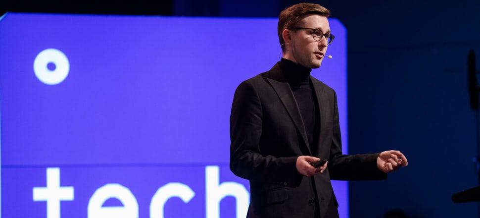 SingularDTV's G. Thomas Esmay at Creative Realities; Photo: Techweek