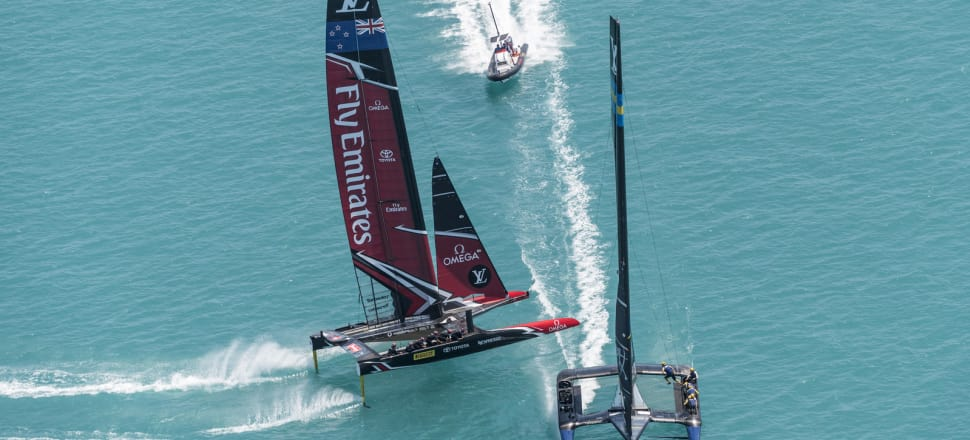 Emirates Team New Zealand and Artemis do battle on the Great Sound. Photo: ACEA 2017 / Ricardo Pinto