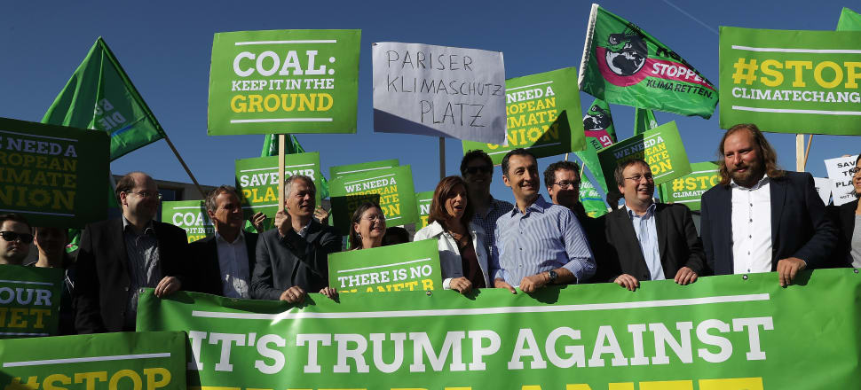 President Trump's withdrawal of the US from the Paris accord has sparked world-wide protest. Photo: Getty Images