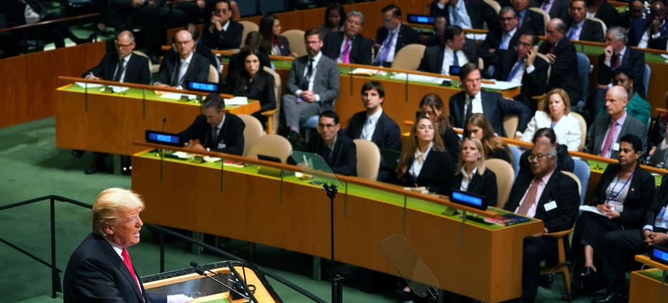 Prime Minister Jacinda Ardern and the New Zealand delegation (upper left) watch on as US President Donald Trump speaks to the UN General Assembly. Photo; Getty Images.