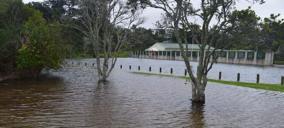 Flooding at Northcote Bowling Club on Auckland's North Shore. Photo: Kyle Aitken