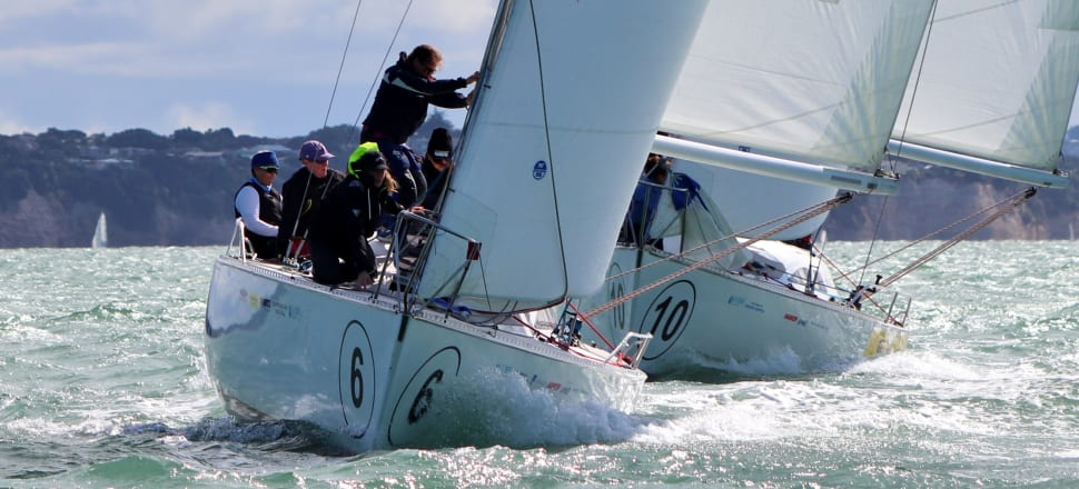 Sally Garrett's crew, who first sailed together 20 years ago, lead the fleet during their maiden victory in the NZ women's keelboat champs on the Waitemata Harbour. Photo: Andrew Delves, RNZYS.
