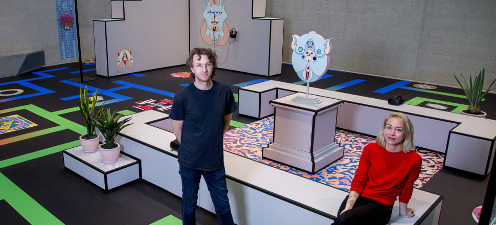 Simon Ward and Jess Johnson with their installation Terminus at the National Gallery of Australia, 2018. Image: Supplied/ Jess Johnson and Simon Ward