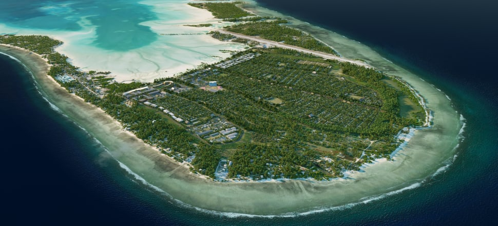 The finished plans for a game-changing climate adaptation project, which could give 35,000 people from Kiribati a home for another 200 years. Photo: Jacobs/Supplied