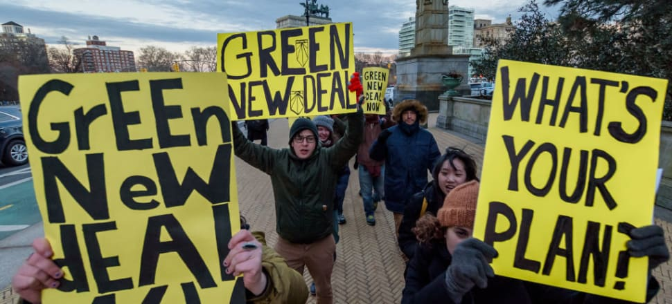 New Yorkers demonstrate in support of the Sunrise Movement's Green New Deal. Photo: Getty Images