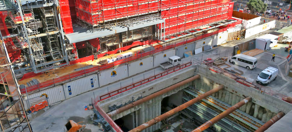 The first stage of the City Rail Link tunnels out of the Britomart station under Queen St towards Albert St. Photo: CRL Ltd
