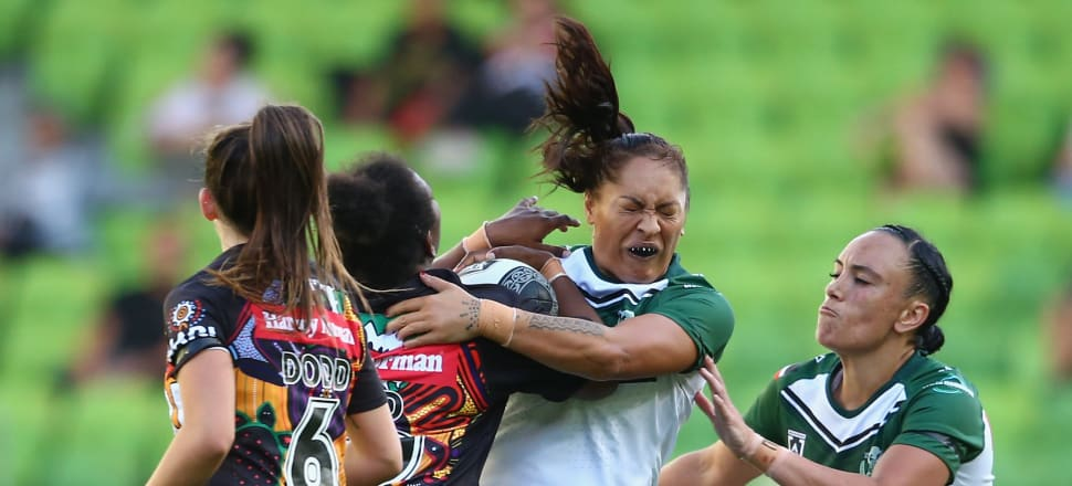 Kathleen Wharton-Keremete is tackled during an NRL exhibition match between the Women's Indigenous All Stars and the Maori All Stars at AAMI Park in February. Photo: Getty Images