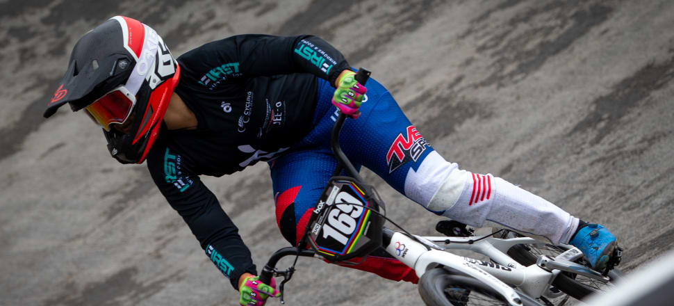 Undeterred by a slippery course in Belgium, Jessie Smith won every race in the junior elite women's BMX world championship - becoming the first Kiwi to win the world title. Photo: Nico van Dartel