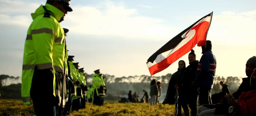 Police have agreed to move forward with a tikanga approach with Ihumatao protesters following tensions sparked from a five-hour stand-off on Monday night. Photo: Getty Images.